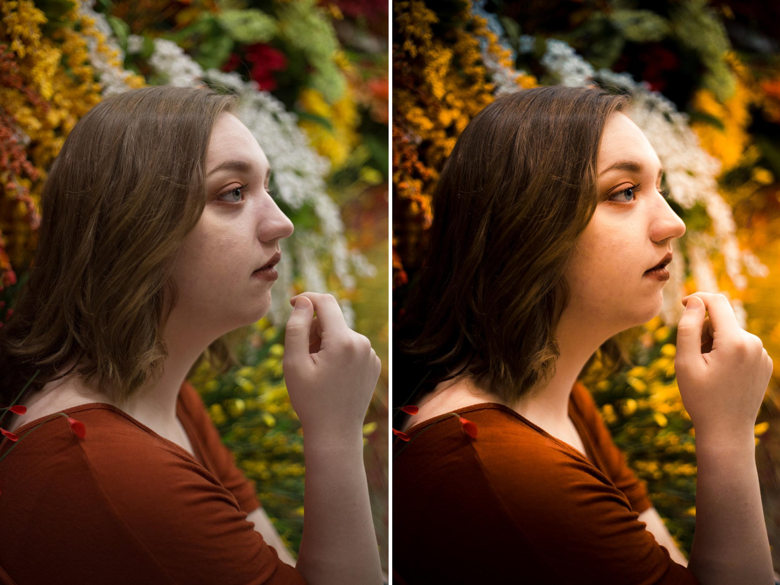 Left: Before / Right: Presets Used: All-In-One - Sunset Portrait2. Brushes Used: Face - Reduce Shadow Under Eyes, Face - Skin Tone & Smooth (tweaked), Eyes - Whiten Eyes, Eyes - Enhance Blue Eyes