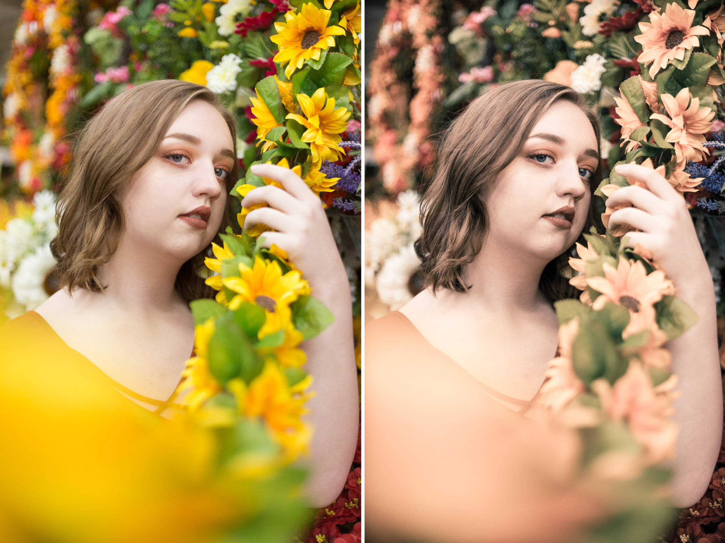 Left: Before / Right: Presets Used: All-In-One - Muted Butterflies (tweaked), Tone/Tint - Bronze Tone2
