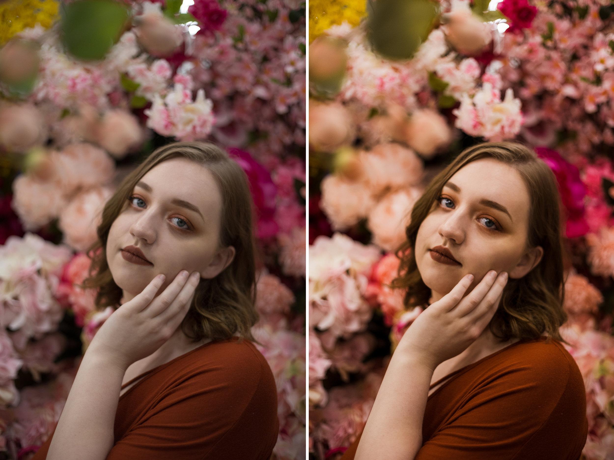 Left: Before / Right: Presets Used: Base - Base Edit 2 (tweaked), Tone/Tint - Summer Ten, Polish - Sharpen. Brushes Used: Face - Fix Under Eye Circles, Light - Brighten Highlights, Eyes- Enhance Blue Eyes2, Eyes - Enhance Catchlights