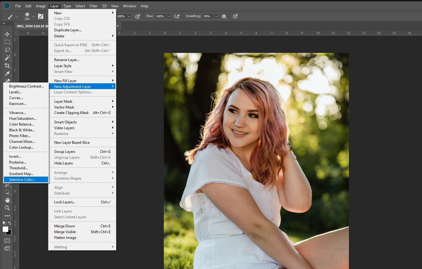 Photoshop editing tutorial for green color cast, portrait editing, skin retouching photoshop, Malina Rose Photography