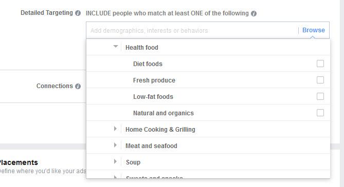 Facebook allows very detailed behavior targeting.
