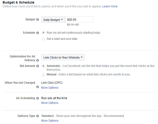 Budget and Schedule options for your Facebook Ad