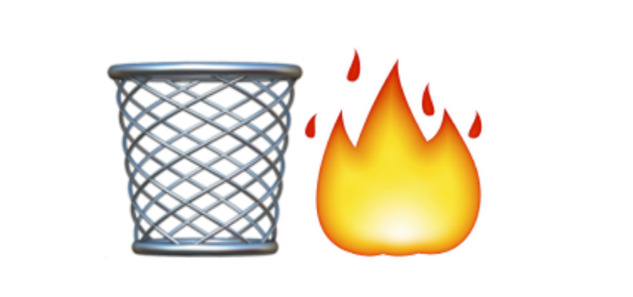 word of the year, trashcan emoji, dumpster fire