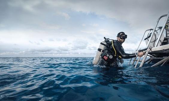 Roatan Solo Diver Exits Water.jpg