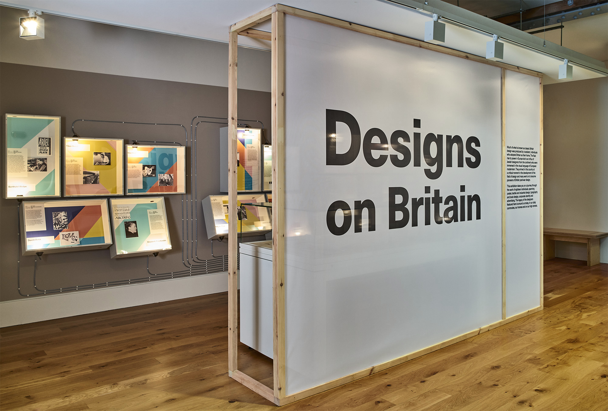 Designs on Britain   Exhibition design, Jewish Museum, 2017   In the 20th Century, pioneering designers from continental Europe emigrated to Britain and brought with them a knowledge of European modernism. This exhibition explores their major contribution and influence on British design.  The design language is articulated into evocative displays of the mid-century and a rich colour palette. The interplay between colour and material allowed us to create an immersive studio atmosphere. Tactile and engaging activities allow visitors to understand the objects and stories making participation an integrated part of the exhibition experience.  Project completed with Plaid London
