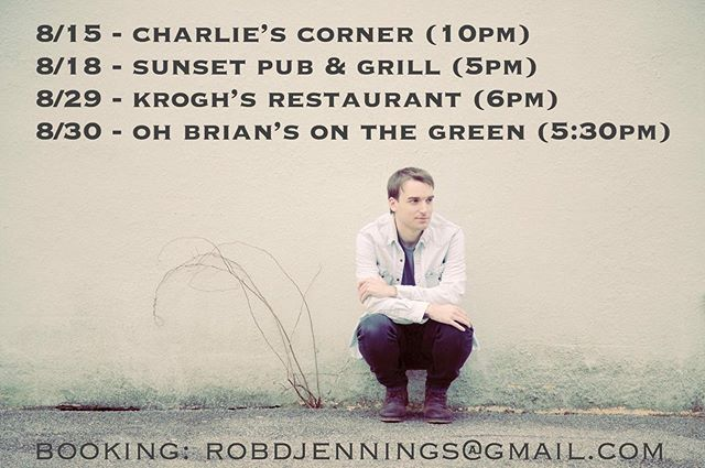 My Solo dates for August @officialcharliescorner @sunsetpubandgrill @kroghsbrewpub and @ohbriansonthegreen. See ya out there! 👍🏻