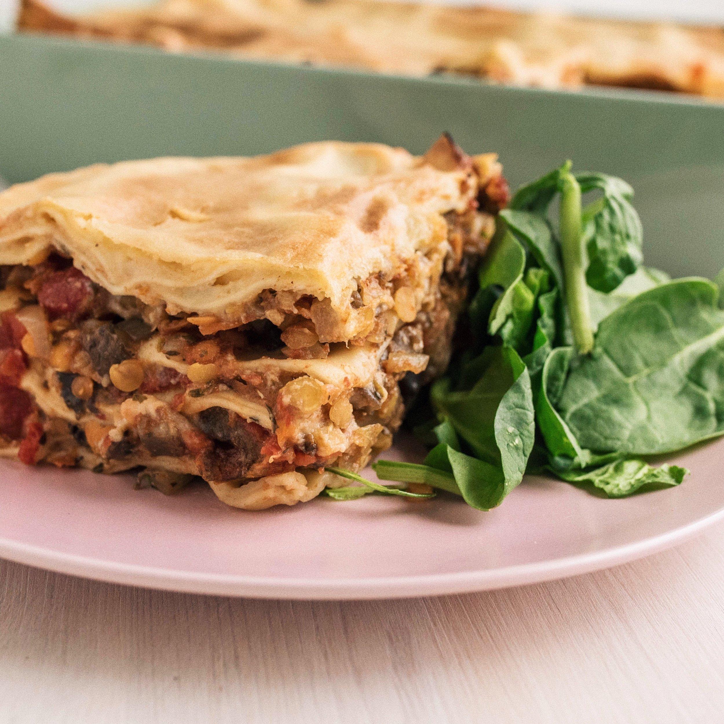 Healthy vegan lasagna