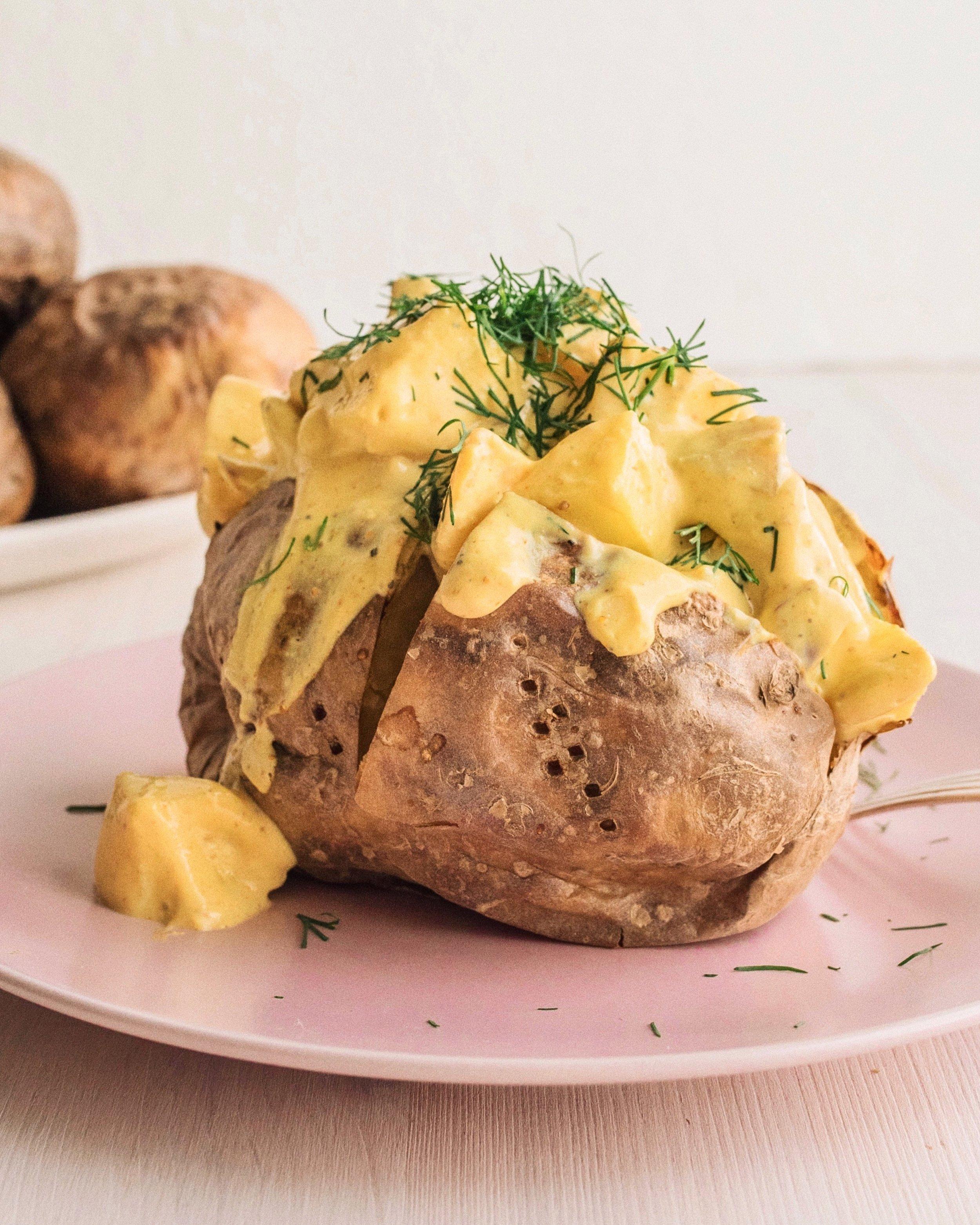 vegansk curryröra bakad potatis