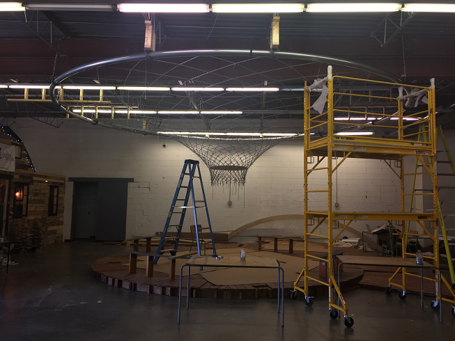 The staging of the ring — making use of the warehouse space at Makerspace North.