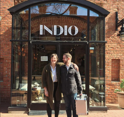 Betsy & Will of Betsy & Iya Jewelry visiting INDIO  The first jewelry line for INDIO - what a great decision that was!