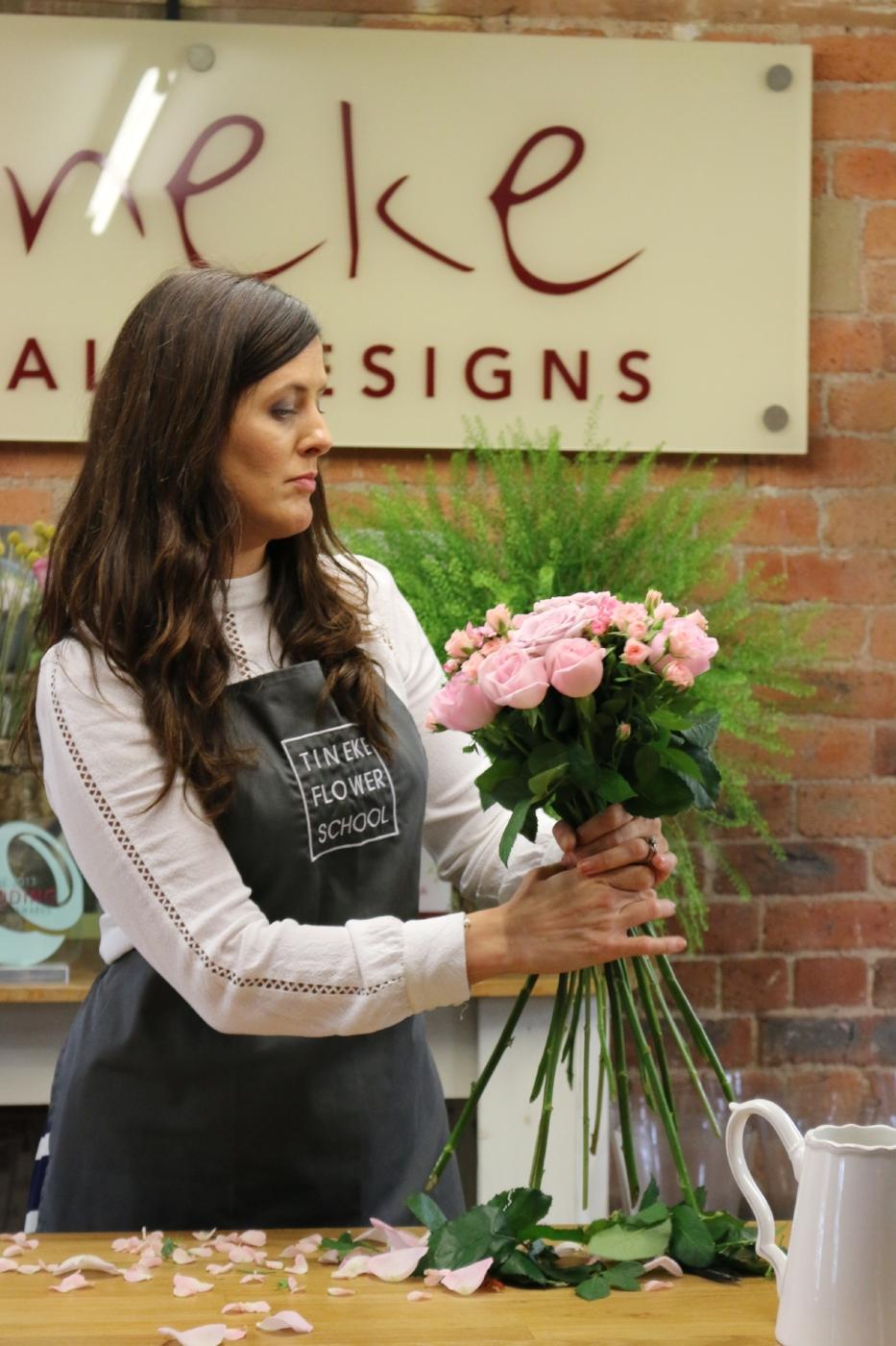 Award winning florist creating letterbox flowers