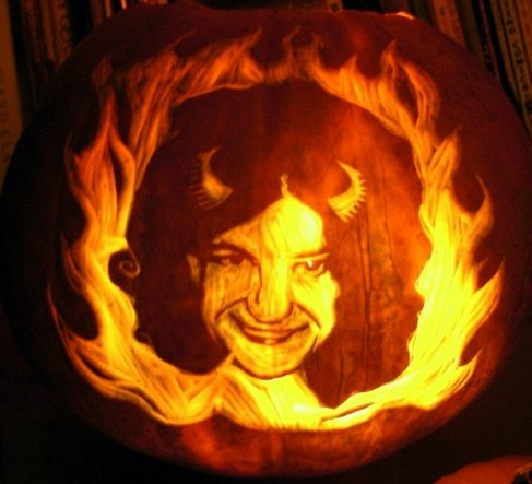 Halloween pumpkin carved by Mr. Havisham. Sorry, Satan. I waited but Tim put a ring on it first.