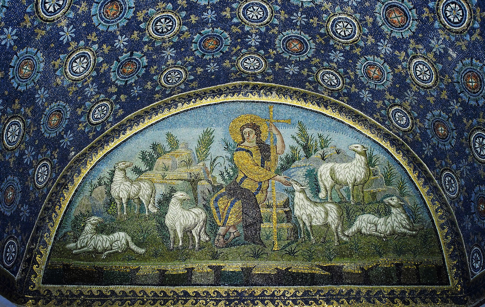 """The Good Shepherd"", 5th Century. Mosaic in the Mausoleum of Gala Placida, Ravenna, Italy."