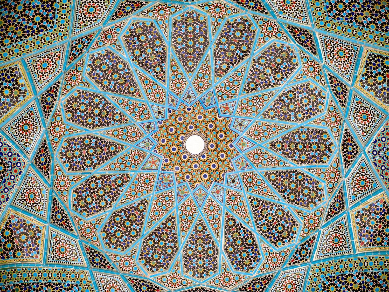 """""""Complex Ceiling Mosaic"""". Ca. 1773. Tomb of Hafez. Shiraz, Iran"""