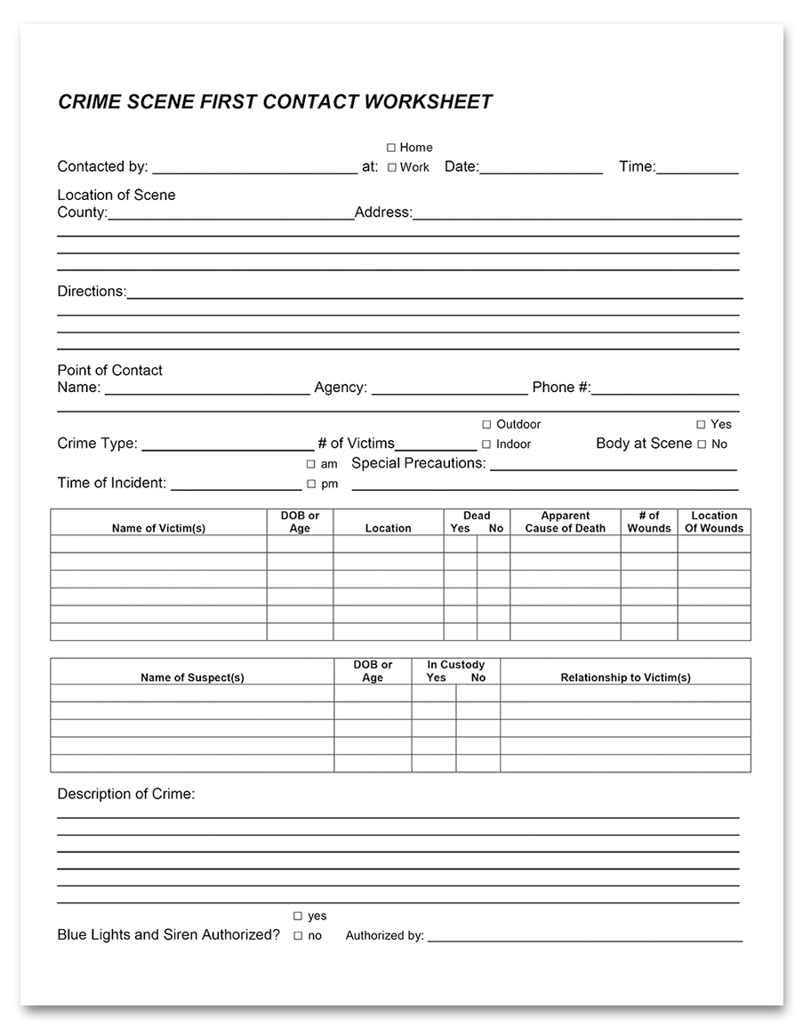First Contact Worksheet