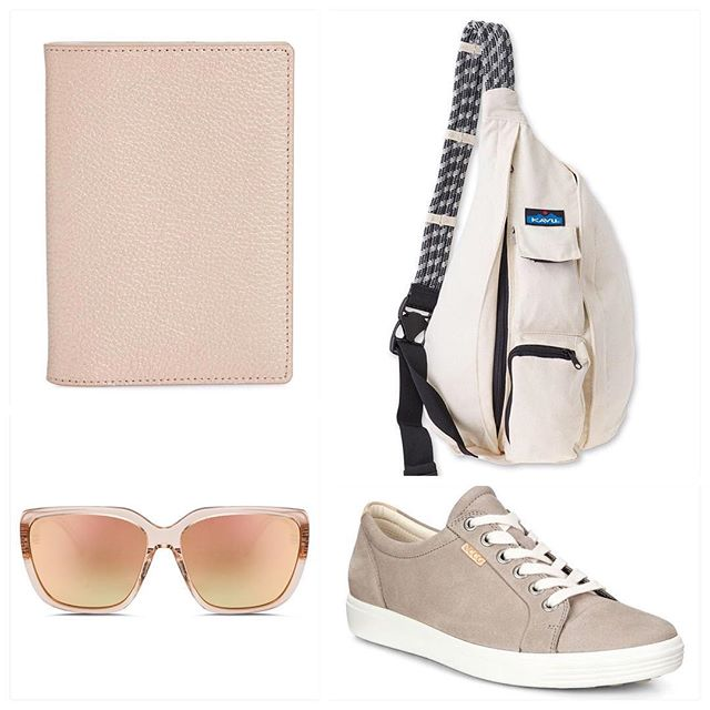My travel essentials! Getting ready for the Bahamas in a few short months, and it can't get here fast enough 🏝🐠☀️ Rose gold passport holder  #nordstrom Kavu rope sling bag  #dickssportinggoods  Honey Bee sunglasses @electric_women #honeybee Ecco sneakers #nordstrom