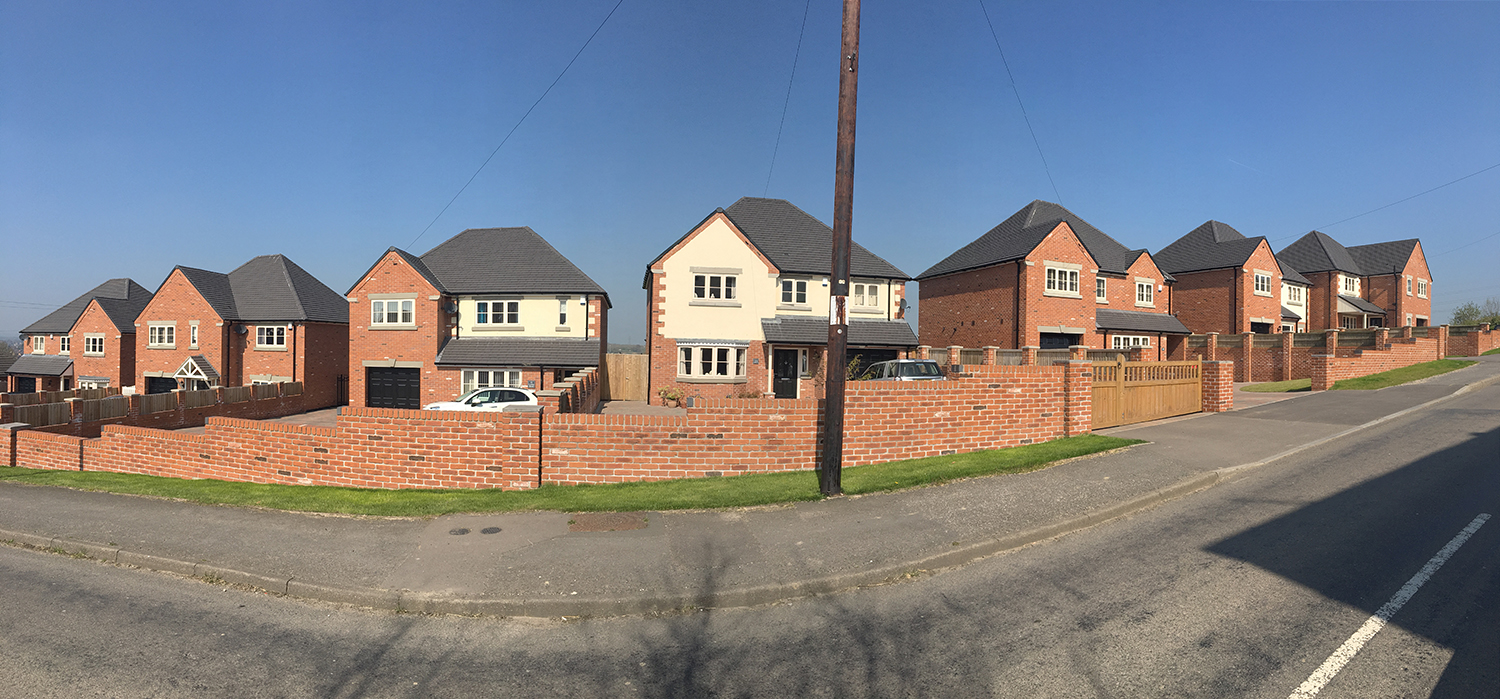 pano of new build housing