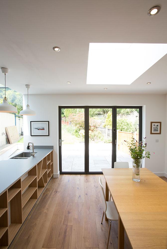 bi fold doors with roof light