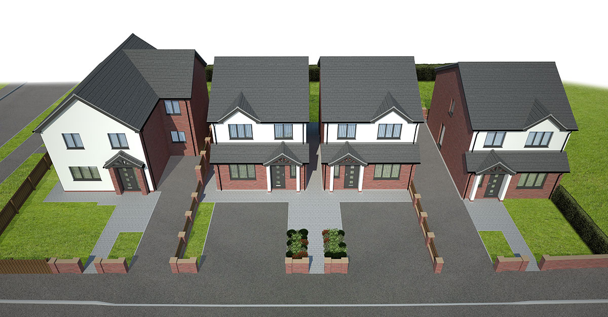 aerial view of new housing development in Chesterfield