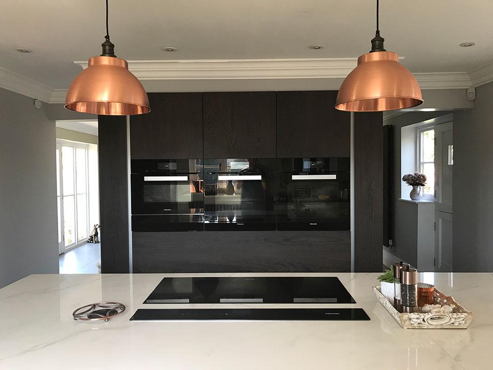 copper lighting in modern kitchen