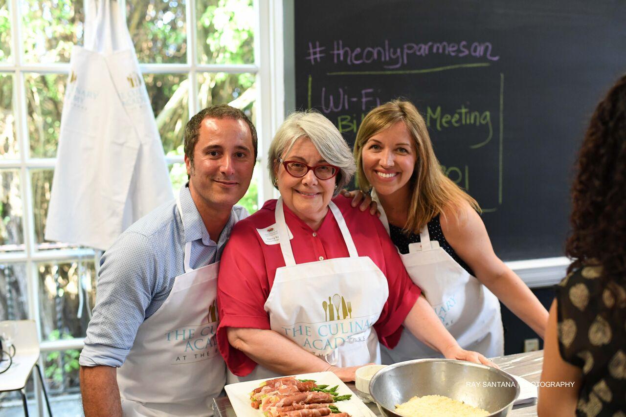 Parmigiano Reggiano US - PR Family ~ Right to left :Danielle Caponi Bolla, Nancy Radke (Founder of the U.S information office for the consorzio del Formaggio Parmigiano-Reggiano) and Federico Bolla.