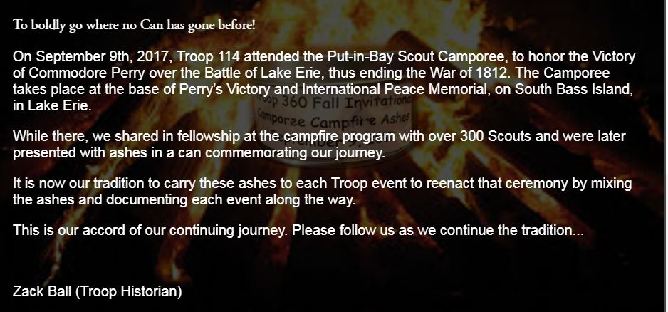 Put-in-Bay Camporee:      See Video Here                                                               September 8-10, 2017