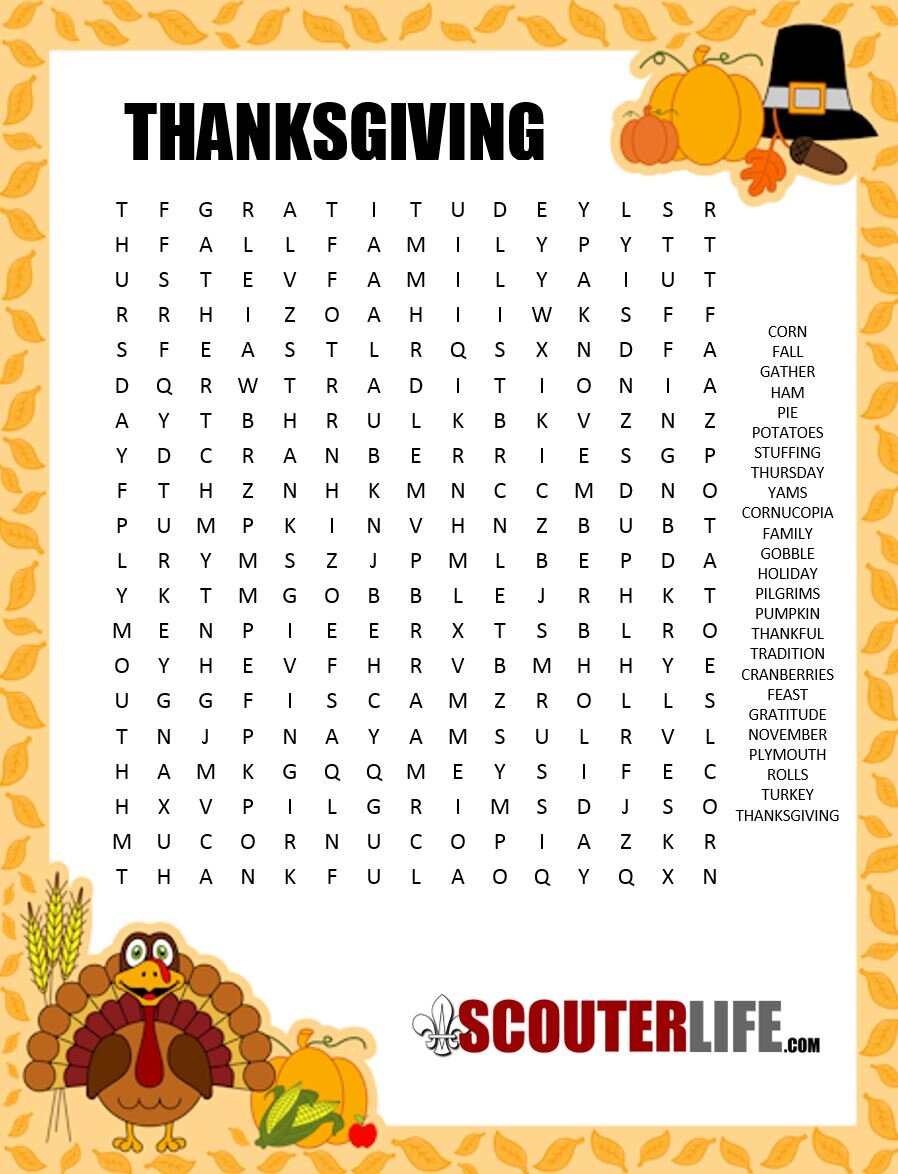 Thanksgiving Word Search — ScouterLife
