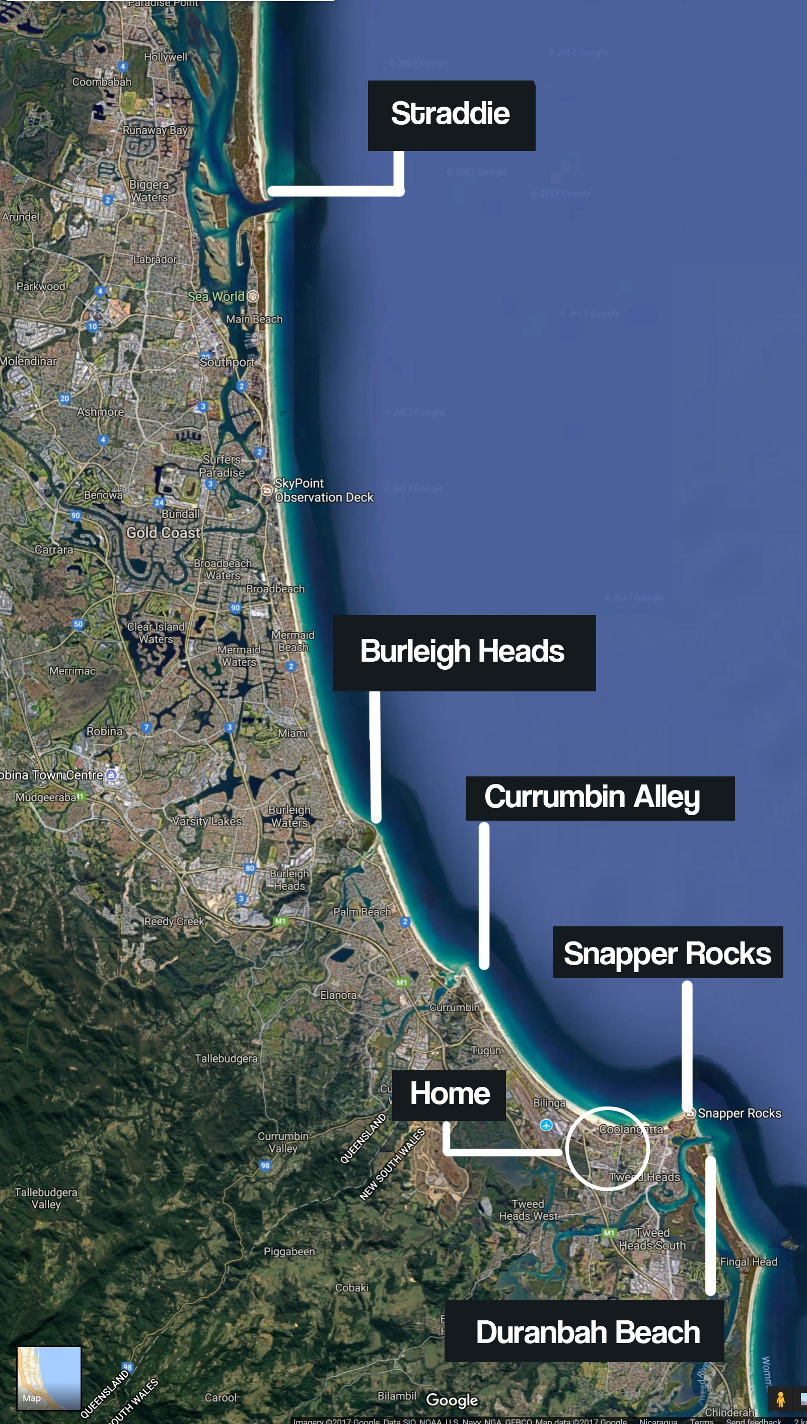 Gold Coast Surf Break map