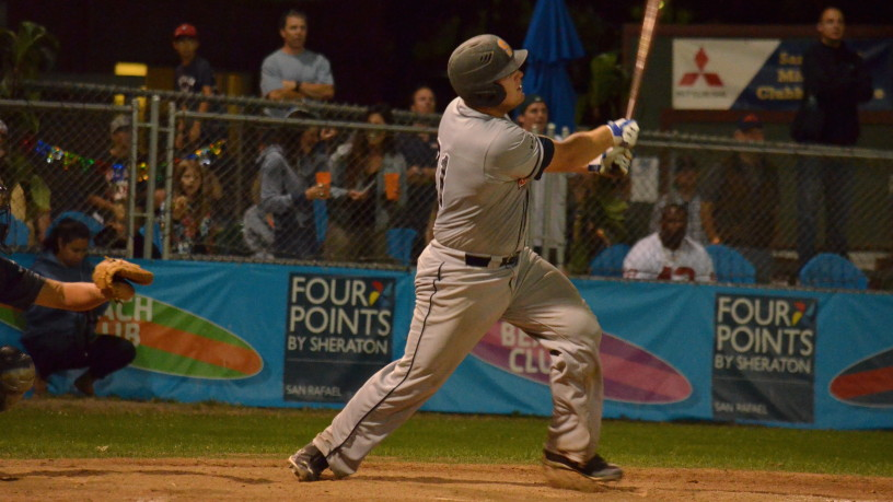 Andrew Parker hits his game-tying RBI ground-rule double in the eighth inning.   James Toy III/Sonoma Stompers