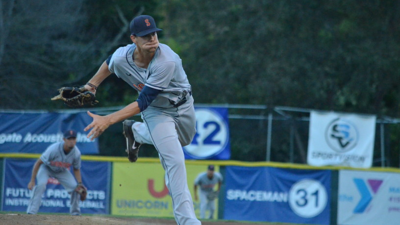 Eric Schwieger was a tough luck loser on Friday, needing only 89 pitches in his eight-inning complete game.   James Toy III/Sonoma Stompers