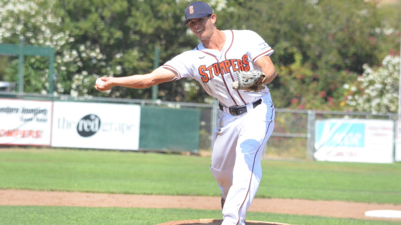 In his final game as a Stomper, TJ Gavlik threw two scoreless innings in his first career pitching appearance.   James Toy III/Sonoma Stompers