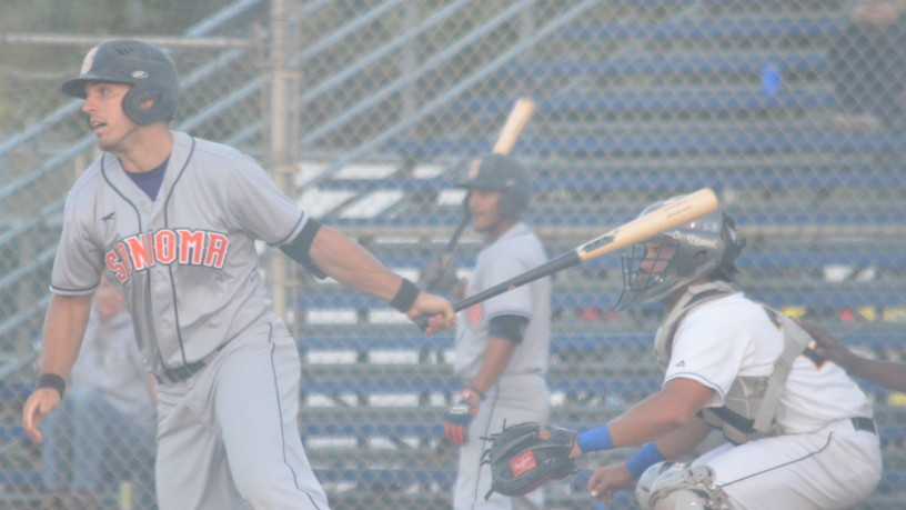 Taylor Eads smacks his first hit as a professional to give Sonoma the lead in Thursday's 10-4 win over Vallejo.   James Toy III/Sonoma Stompers