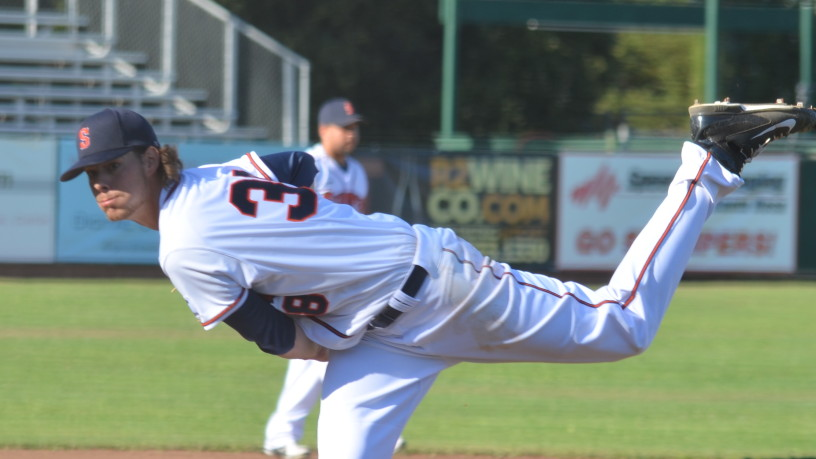 Eric Schwieger's terrific pitching performance has put the Stompers one win away from their first ever half championship.   James Toy III/Sonoma Stompers