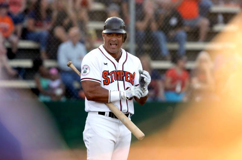 Jose Canseco, former big-league star, was the designated hitter for the Sonoma Stompers when they faced off against the San Rafael Pacifics at Arnold Field in Sonoma on June 12, 2015.   Crista Jeremiason/The Press Democrat