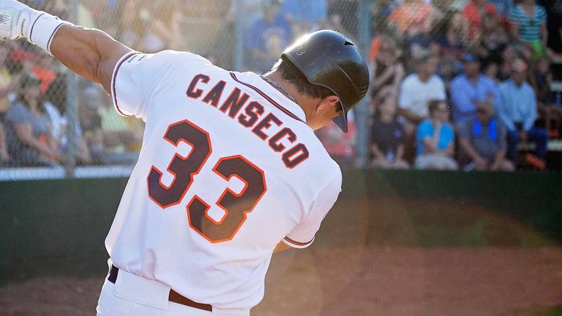 Former six-time MLB All-Star Jose Canseco was 0-for-4 on Friday night in his first of two games playing for the Stompers. Canseco will take part in a pre-game home run derby on Saturday before suiting up for Sonoma later that evening.   Danielle Putonen/Sonoma Stompers