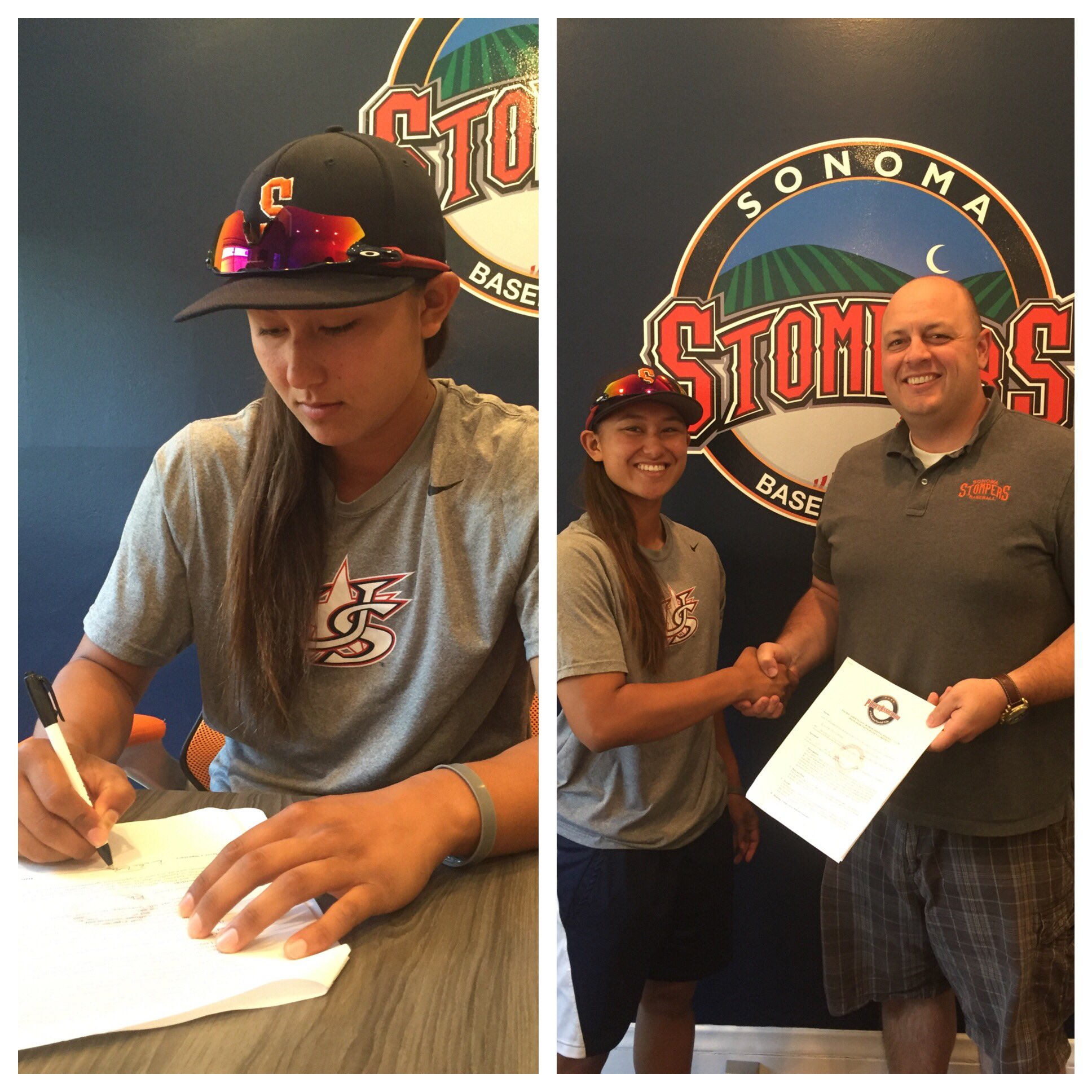 Kelsie Whitmore signs her professional contract with the Sonoma Stompers on Wednesday. She and Stacy Piagno will make their debuts with the Stompers on Friday.   Tim Livingston/Sonoma Stompers