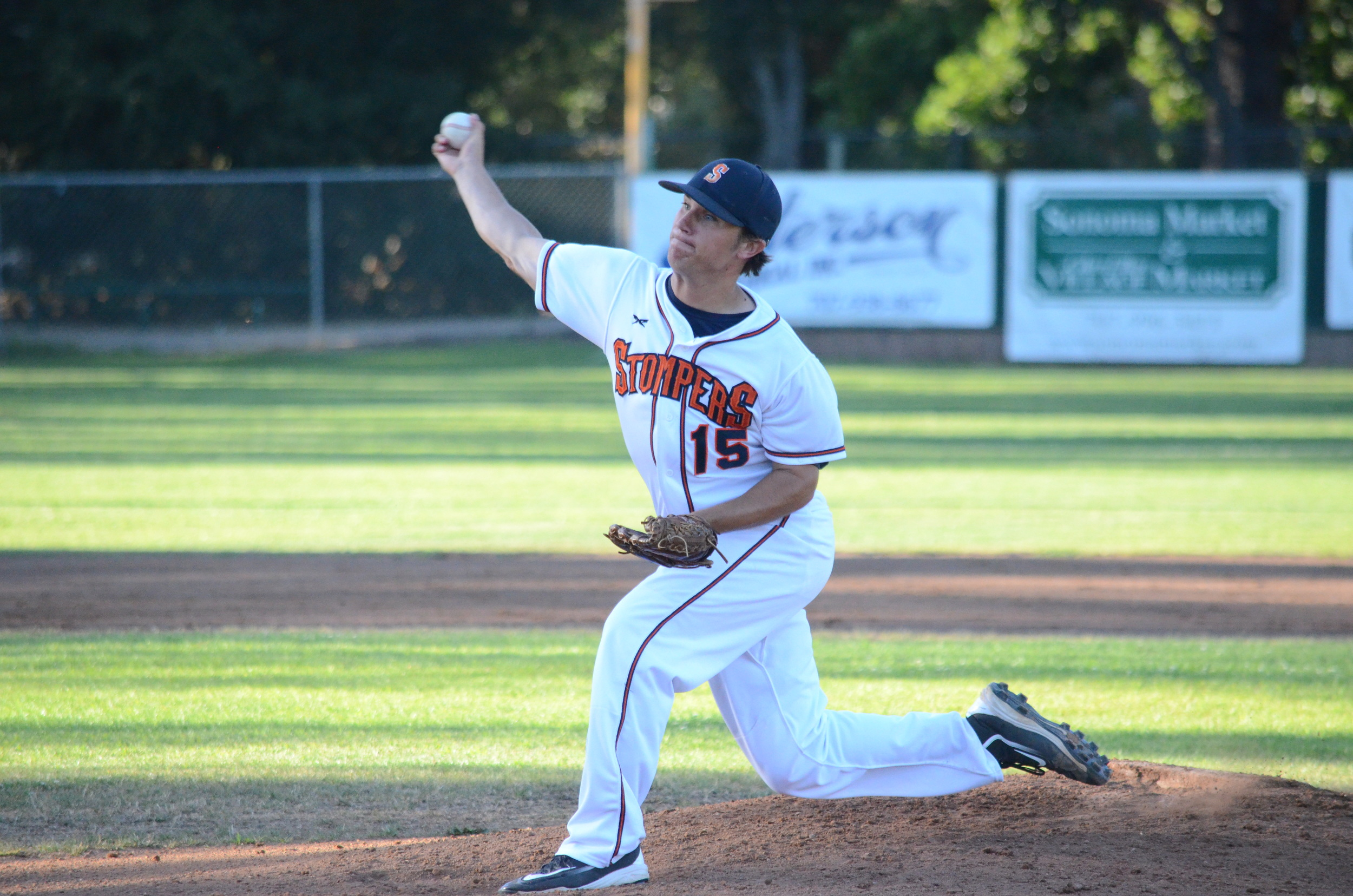 Taylor Thurber delivered with a fantastic start in a 6-2 win over the Diamonds Tuesday. Thurber struck out 8 in 8 innings of work to earn the win.   James Toy III/Sonoma Stompers