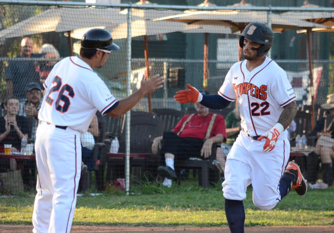 Mark Hurley hit his fifth home run of the season Wednesday in the Stompers 6-2 loss to the Diamonds Wednesday night. Hurley has multiple hits in each of the last two games.   James Toy III/ Sonoma Stompers