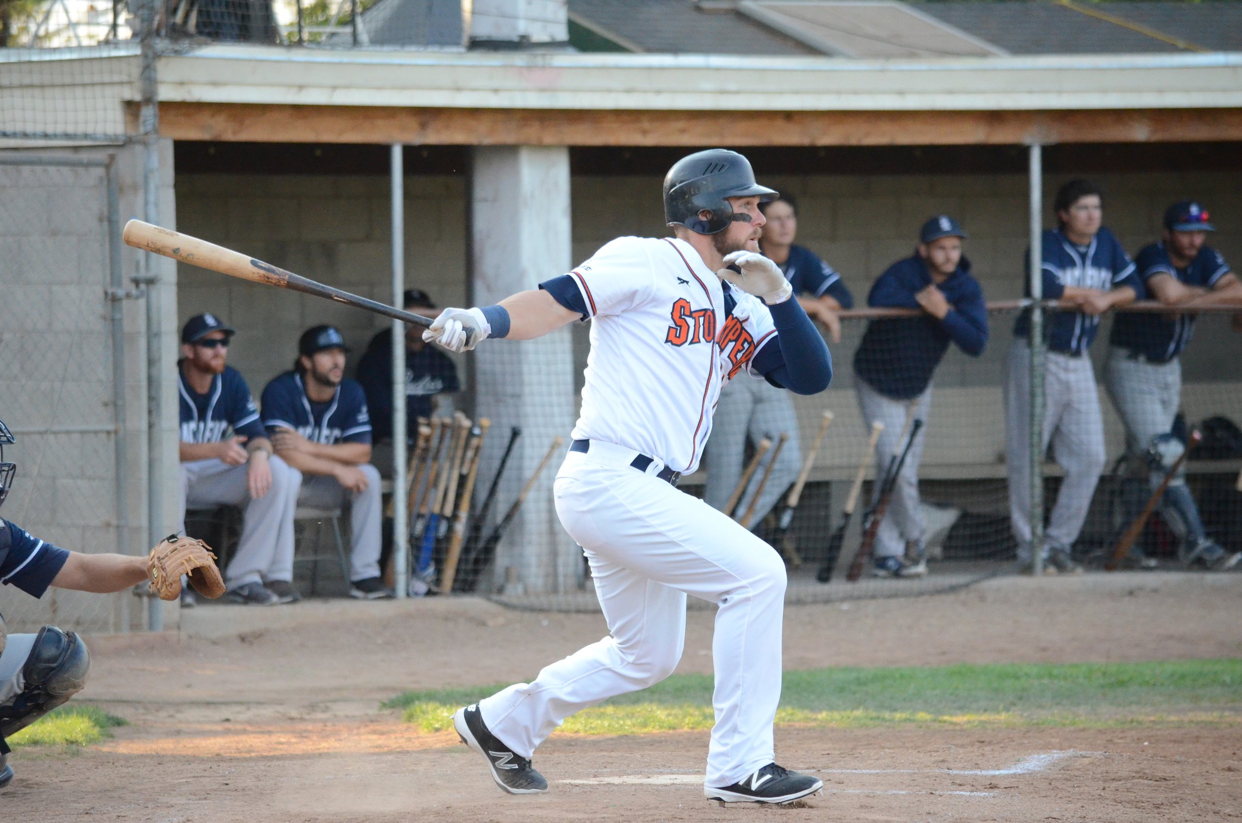Scott David impressed in his home debut with a 4 for 4 performance Friday in a 13-4 win for the Stompers. David reached base in all five of this plate appearances.   James Toy III/Sonoma Stompers