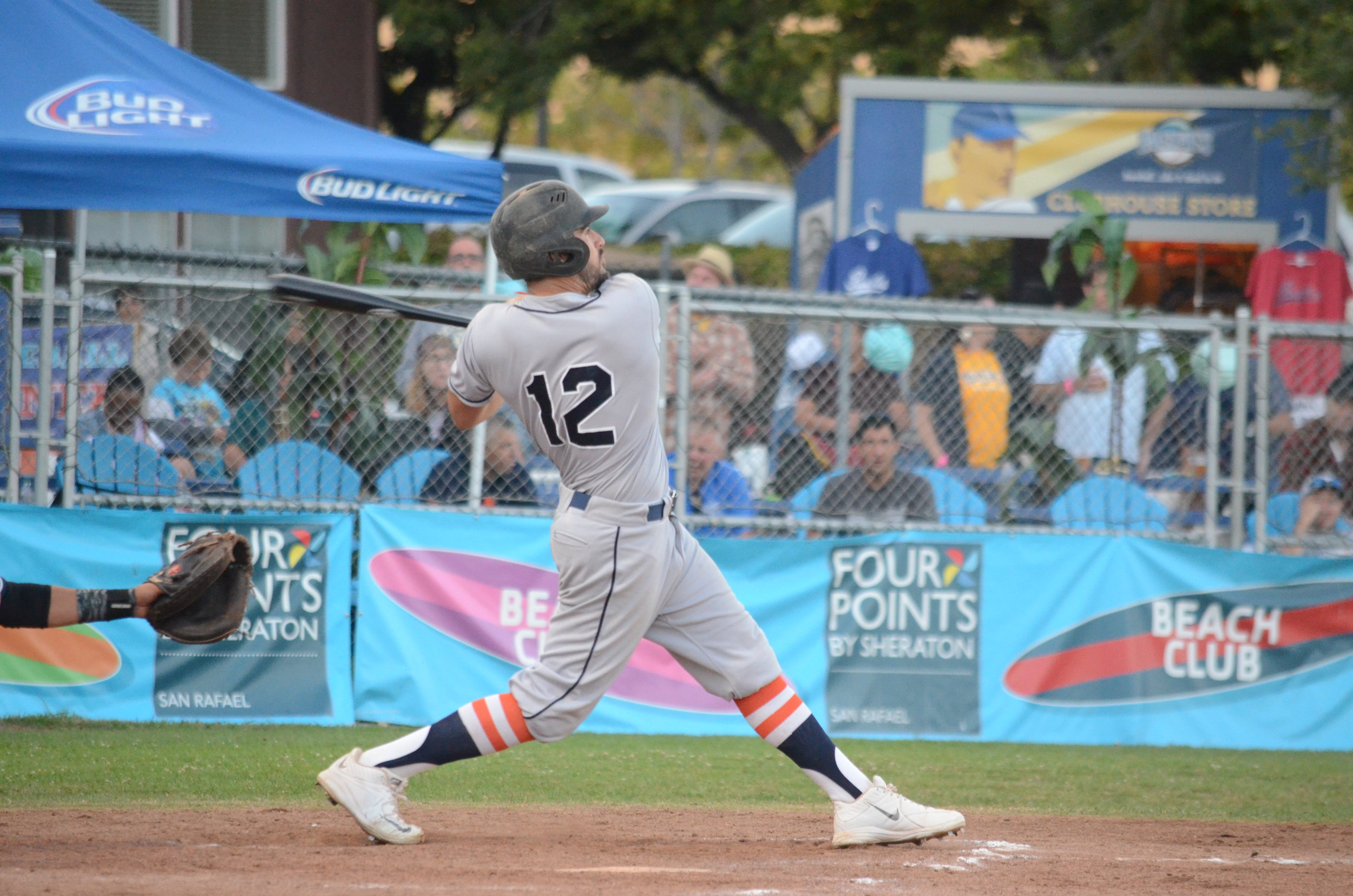 Erik Gonsalves became the first Stomper to hit a home run, and win a game as pitcher in franchise history in the Stompers 10-5 win over the Pacifcs.   James Toy III/Sonoma Stompers
