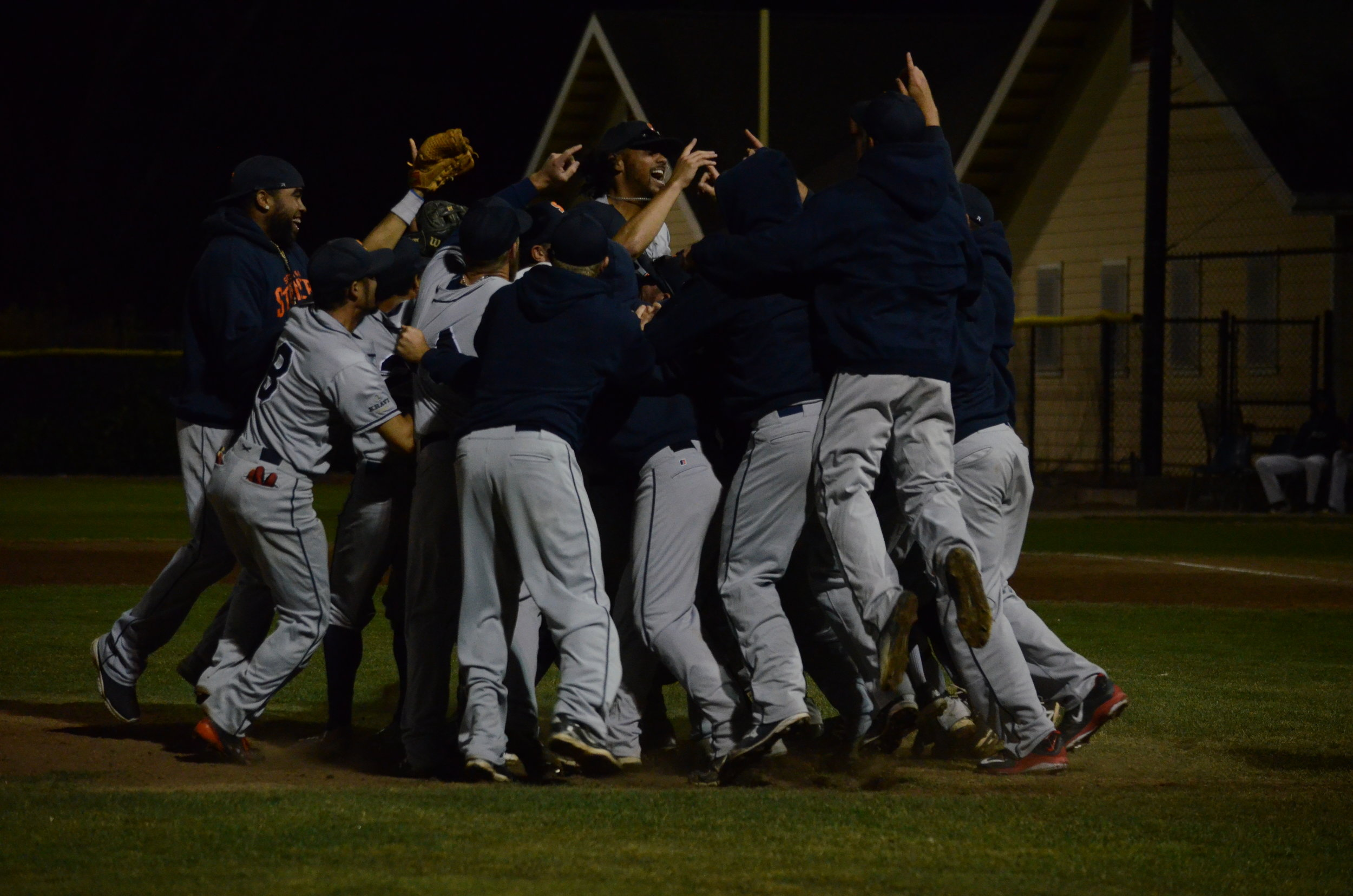 The Stompers stormed to the mound on Friday August 26 after clinching their first ever Pacific Association Championship at Albert Park in San Rafael.   James Toy III/Sonoma Stompers