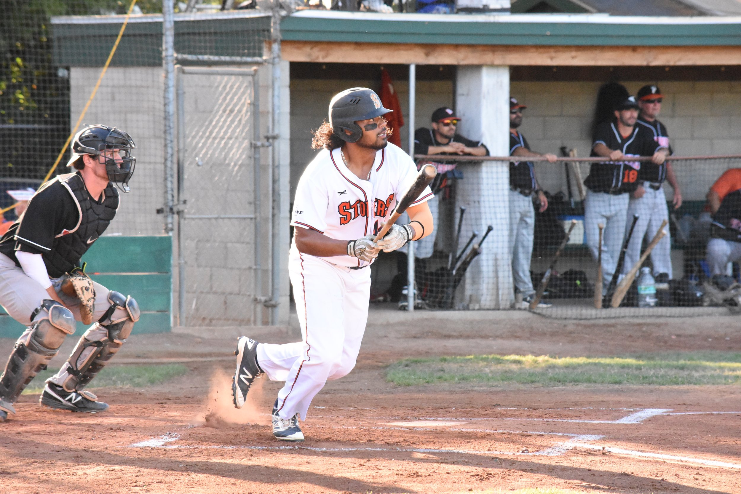 In Sunday's 7-1 win over the Pittsburg Diamonds at People's Home Equity Ballpark, Daniel Baptista hits a homer to give the Sonoma Stompers the lead. (James W. Toy III / Sonoma Stompers)