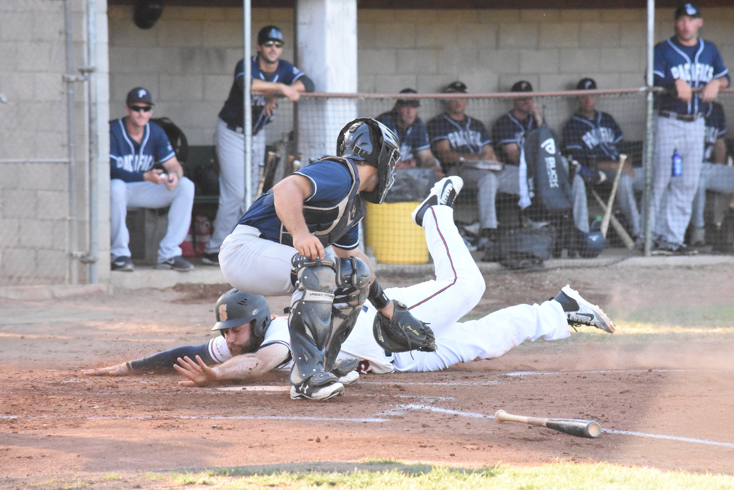 Isaac Wenrich scores the second run in Thursday's 9-5 victory over the San Rafael Pacifics at Peoples Home Equity Ballpark at Arnold Field. (James W. Toy III / Sonoma Stompers)
