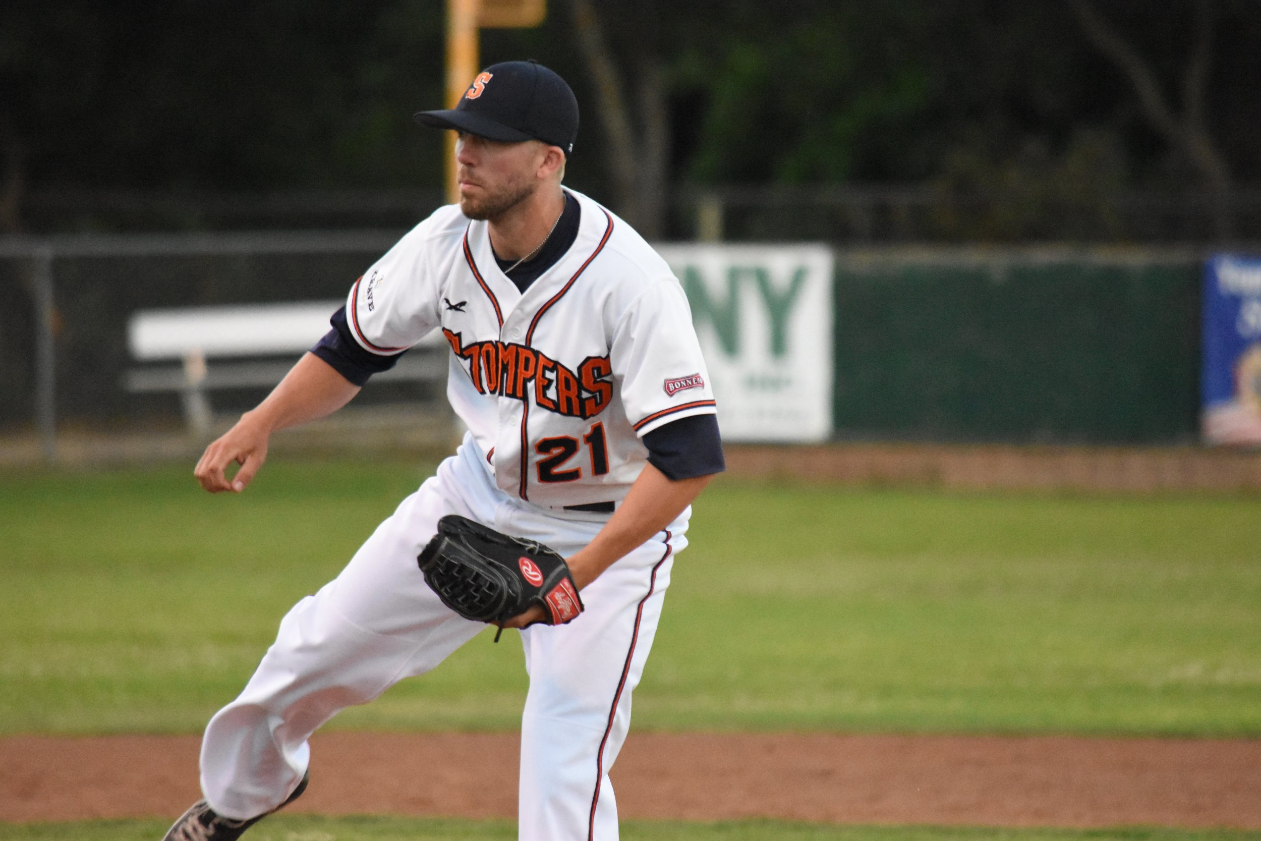 Ryan Richardson has been a valuable member of the Sonoma Stompers' bullpen in 2017. (James W. Toy III / Sonoma Stompers)