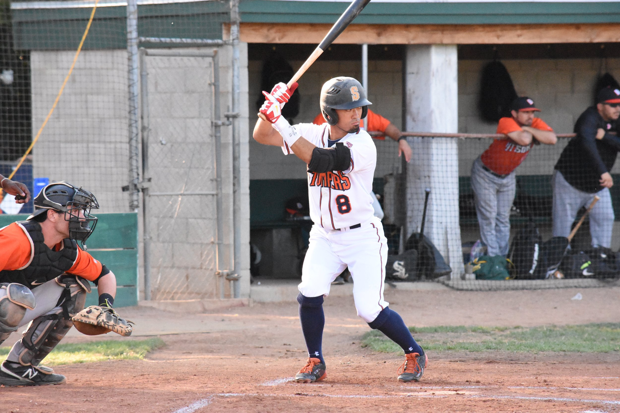 Yuki Yasuda went 2 for 4 in Wednesday night's loss to the Pittsburg Diamonds, marking the first time the Stompers have lost three games in a row this season. (James W. Toy III / Sonoma Stompers)