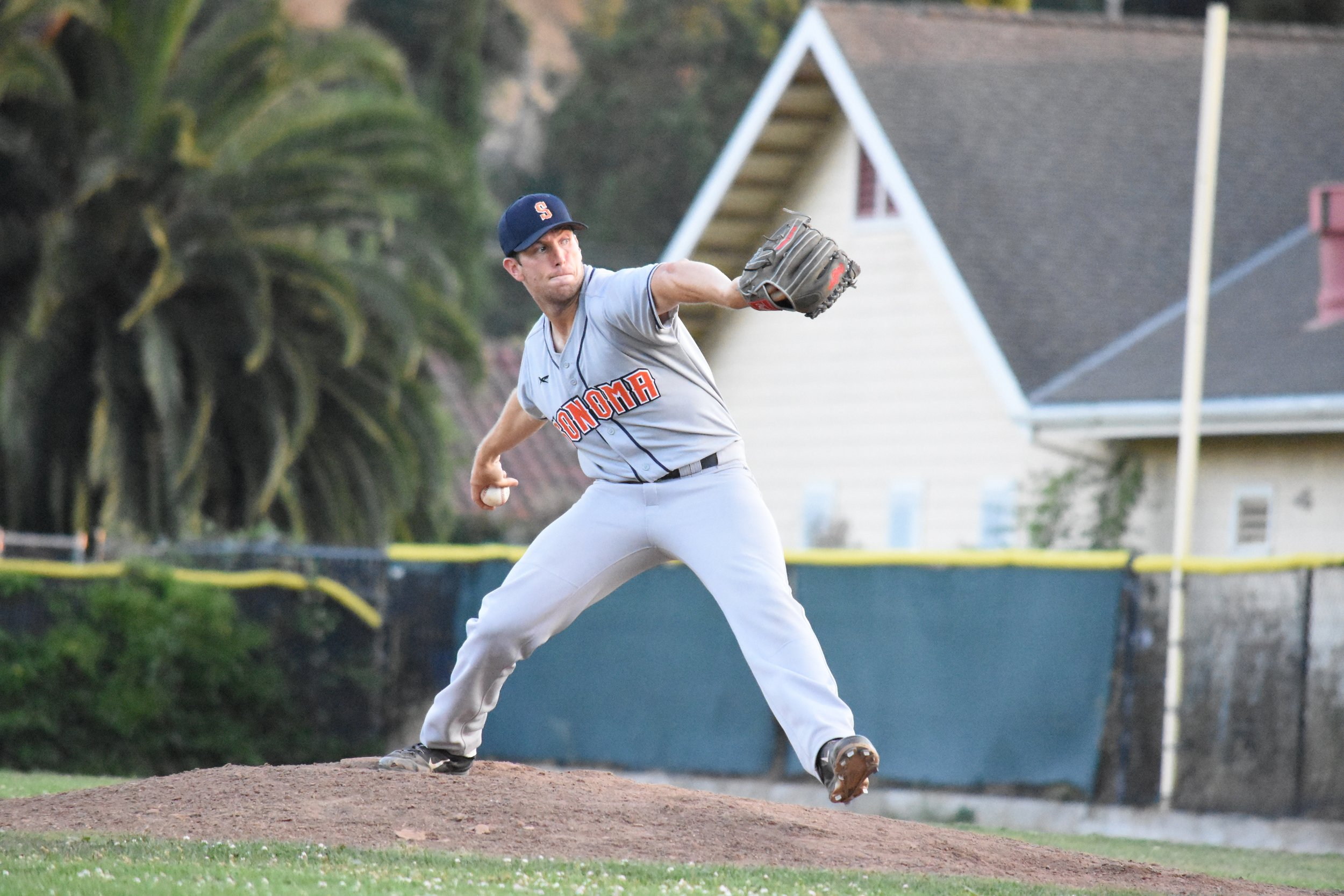 Starter Tyler Garkow threw six and two-thirds innings of no-hit ball in Thursday's 7-4 victory over the San Rafael Pacifics at Albert Park. (James W. Toy III / Sonoma Stompers)