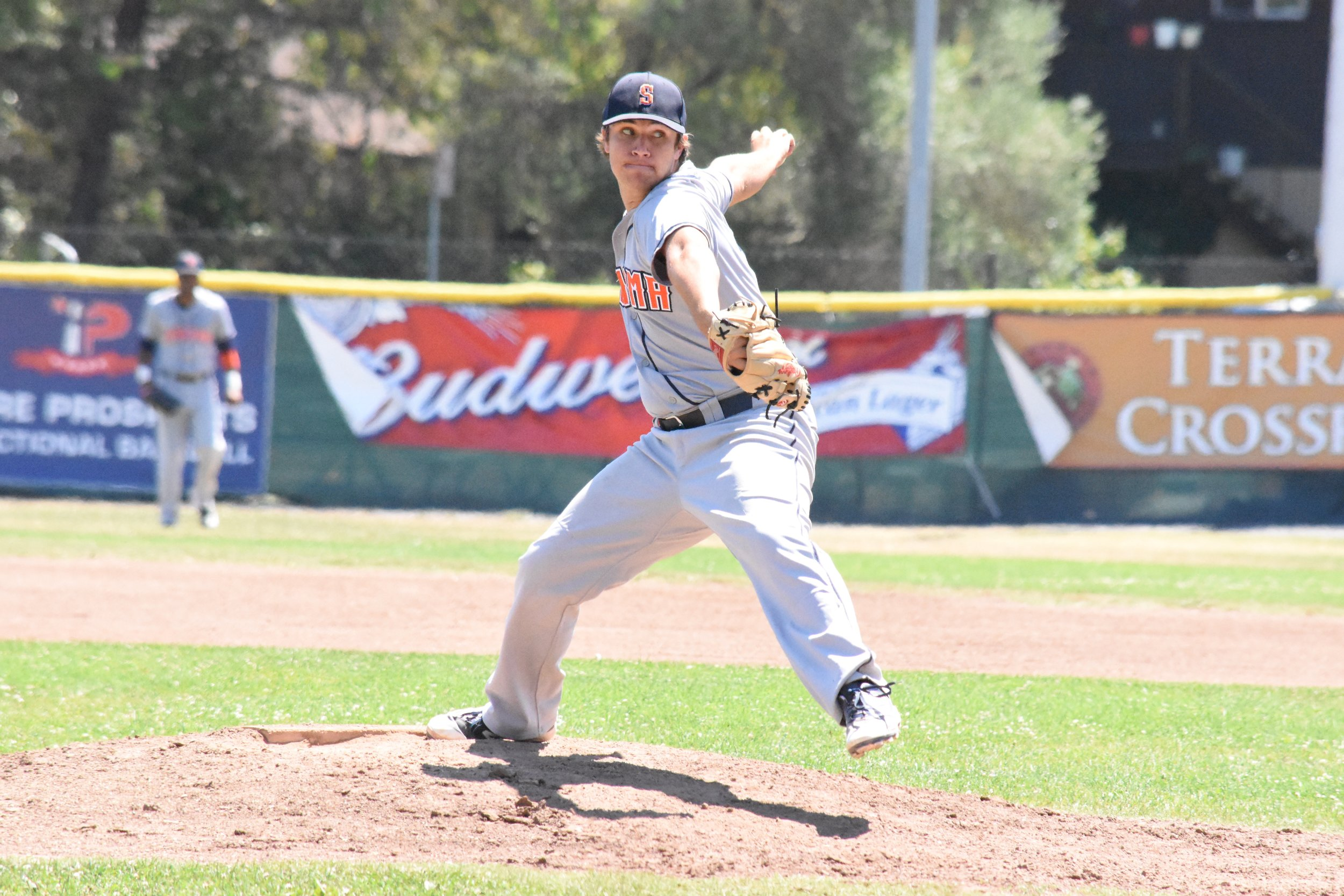 Starter Taylor Thurber struck out nine in seven and one-thirds innings pitched in Sunday's 7-6 loss to the San Rafael Pacifics at Albert Park. (James W. Toy III / Sonoma Stompers)