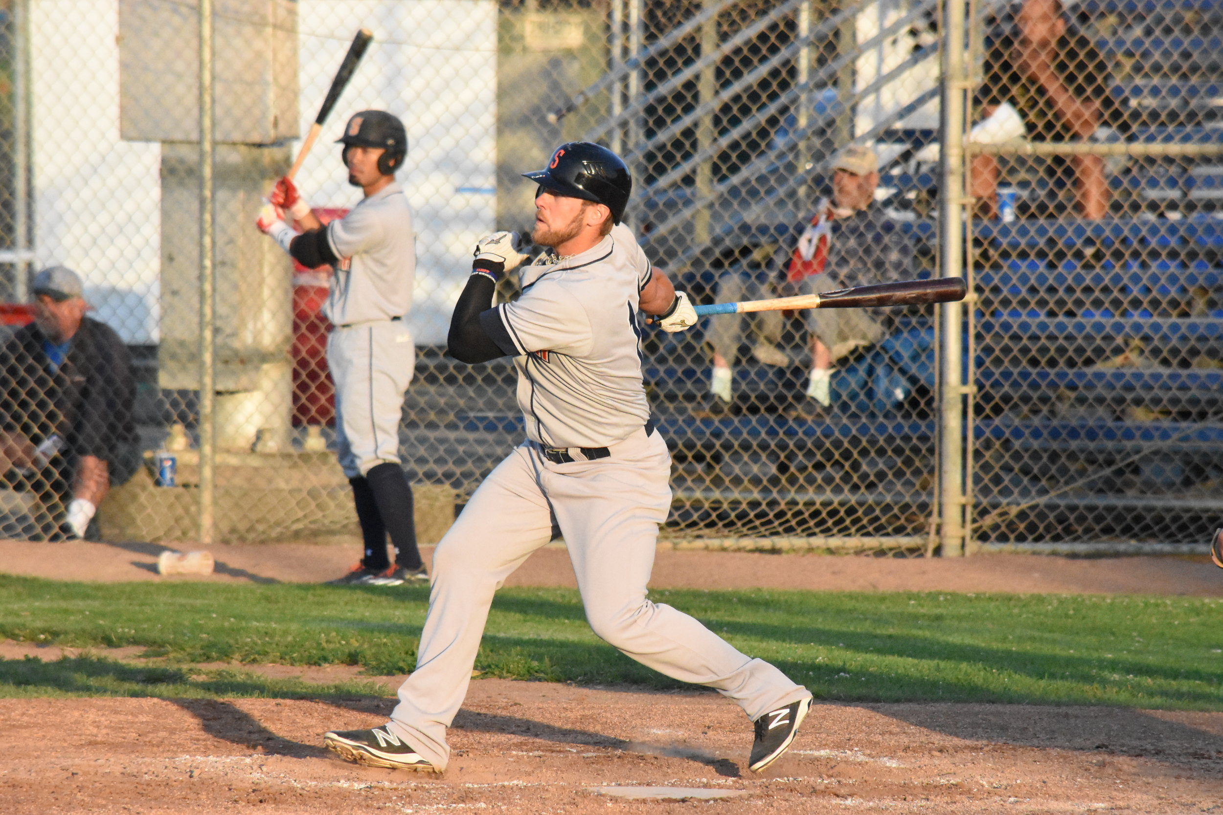Scott David went 2 for 4 in the Sonoma Stompers' 12-3 loss to the Vallejo Admirals Tuesday at Wilson Park. (James W. Toy III / Sonoma Stompers)