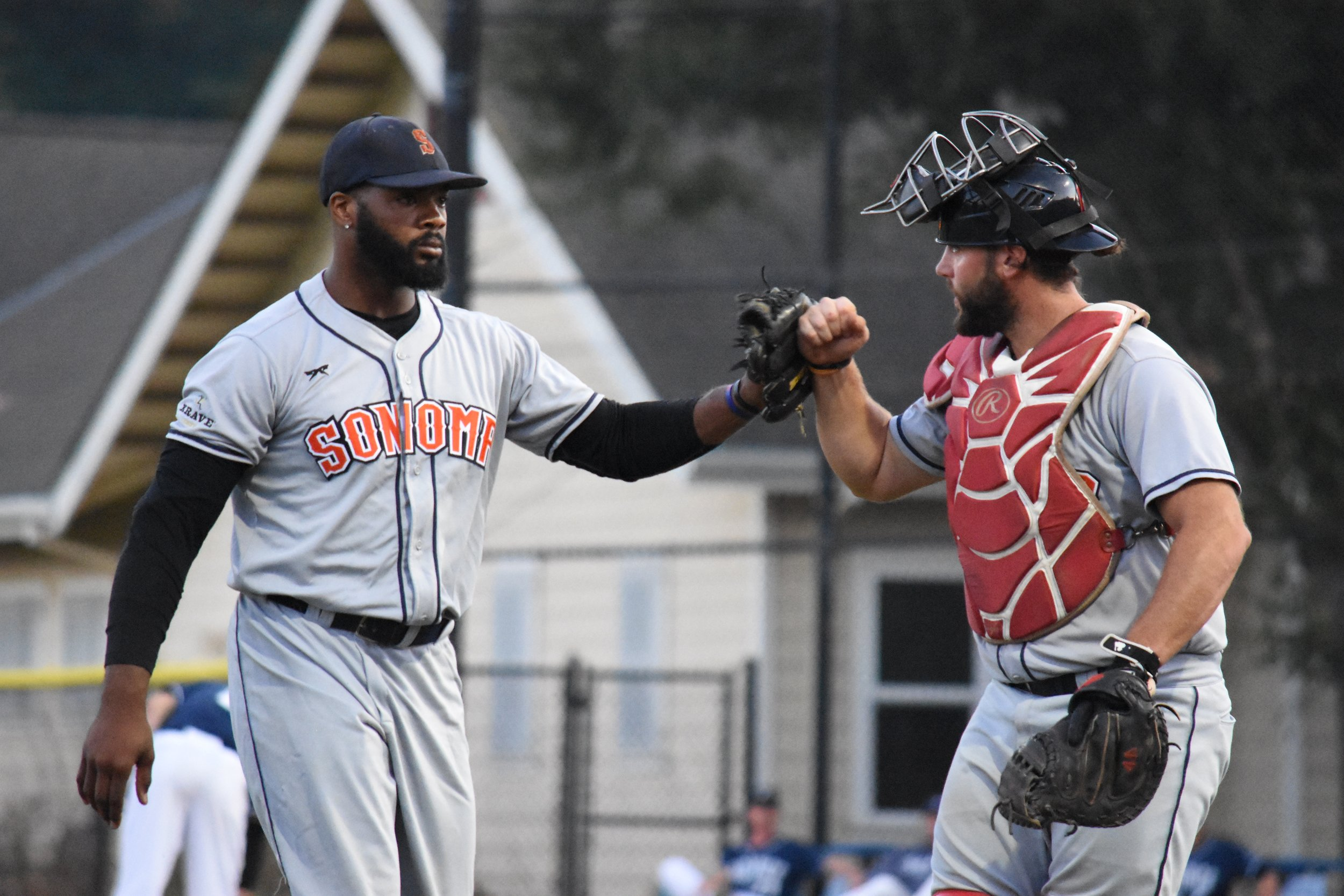 Ty'Relle Harris (left) returned to the mound for the Stompers and pitched five innings of scoreless ball in Sonoma's 6-5 loss to the San Rafael Pacifics in extras. (James W. Toy III / Sonoma Stompers)