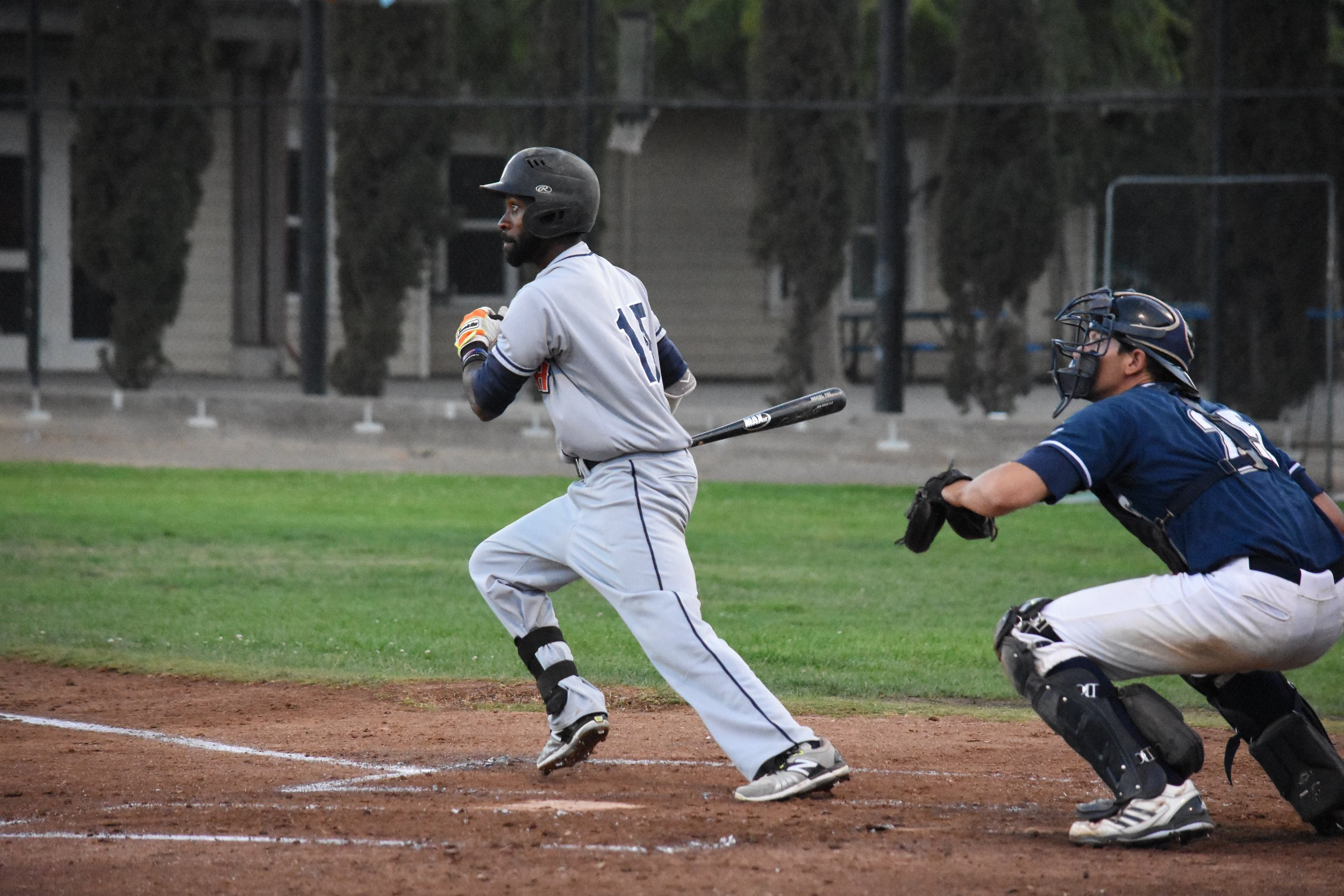 Derrick Fox drove in one of the Stompers' two runs in Thursday's 12-2 loss to the San Rafael Pacifics at Albert Park. (James W. Toy III / Sonoma Stompers)